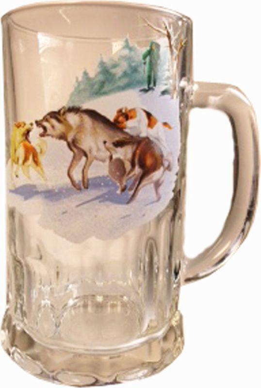 Кружка пивная Карамба Охота. Волк, 500 мл4831Большая пивная кружка изготовлена из стекла и оформлена рисунком. Она непременно понравится любителям пенного напитка, веселых посиделок и отвязных вечеринок. Пивная кружка превратит заурядную встречу в незабываемый вечер, а также станет оригинальным сувениром.
