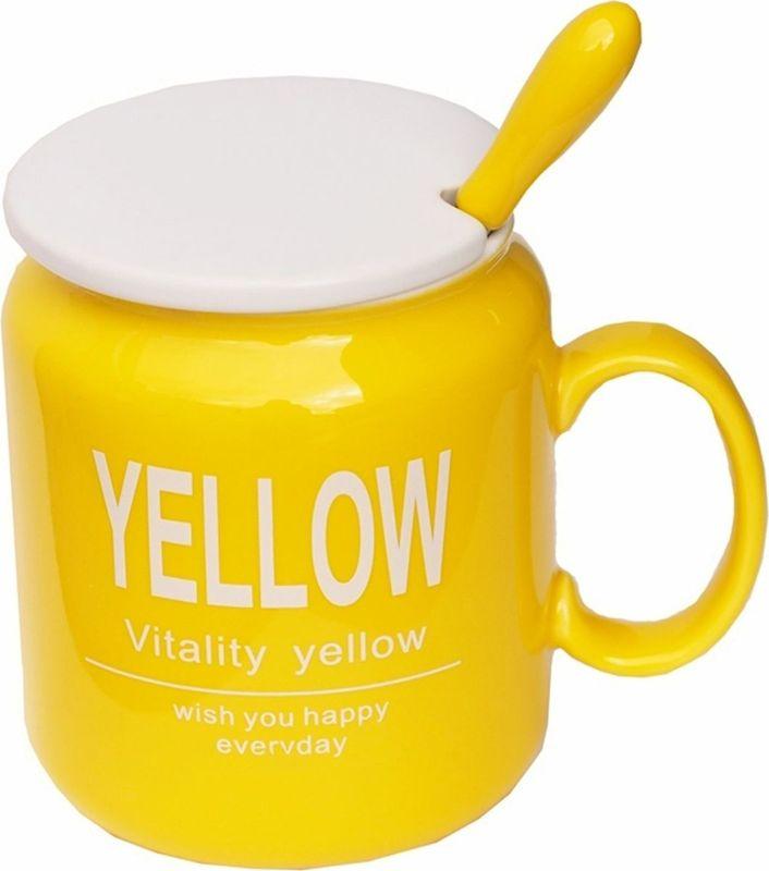 Кружка Карамба Yellow, с крышкой, цвет: желтый, 320 мл4856Красивая кружка с крышкой и ложкой