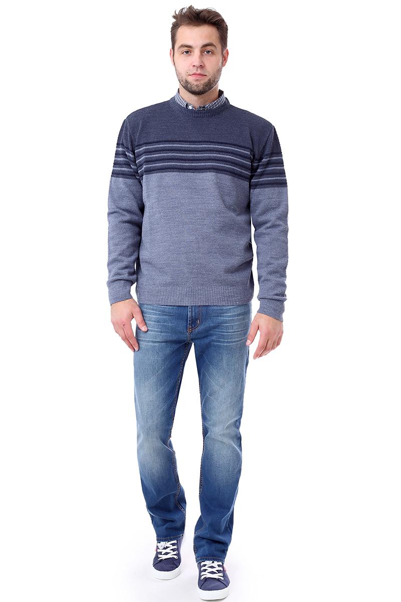 Джемпер мужской F5, цвет: синий. 276120. Размер M (48)276120_dark grey greyМужской джемпер F5 с круглым вырезом горловины и длинными рукавами изготовлен из высококачественной комбинированной пряжи. Манжеты рукавов, вырез горловины и низ джемпера связаны резинкой.