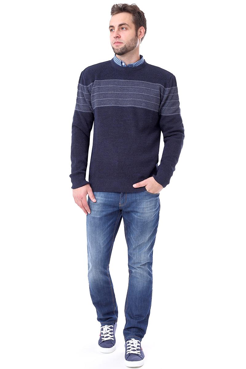 Джемпер мужской F5, цвет: синий. 276122. Размер M (48)276122_navyМужской джемпер F5 с круглым вырезом горловины и длинными рукавами изготовлен из высококачественной комбинированной пряжи. Манжеты рукавов, вырез горловины и низ джемпера связаны резинкой.