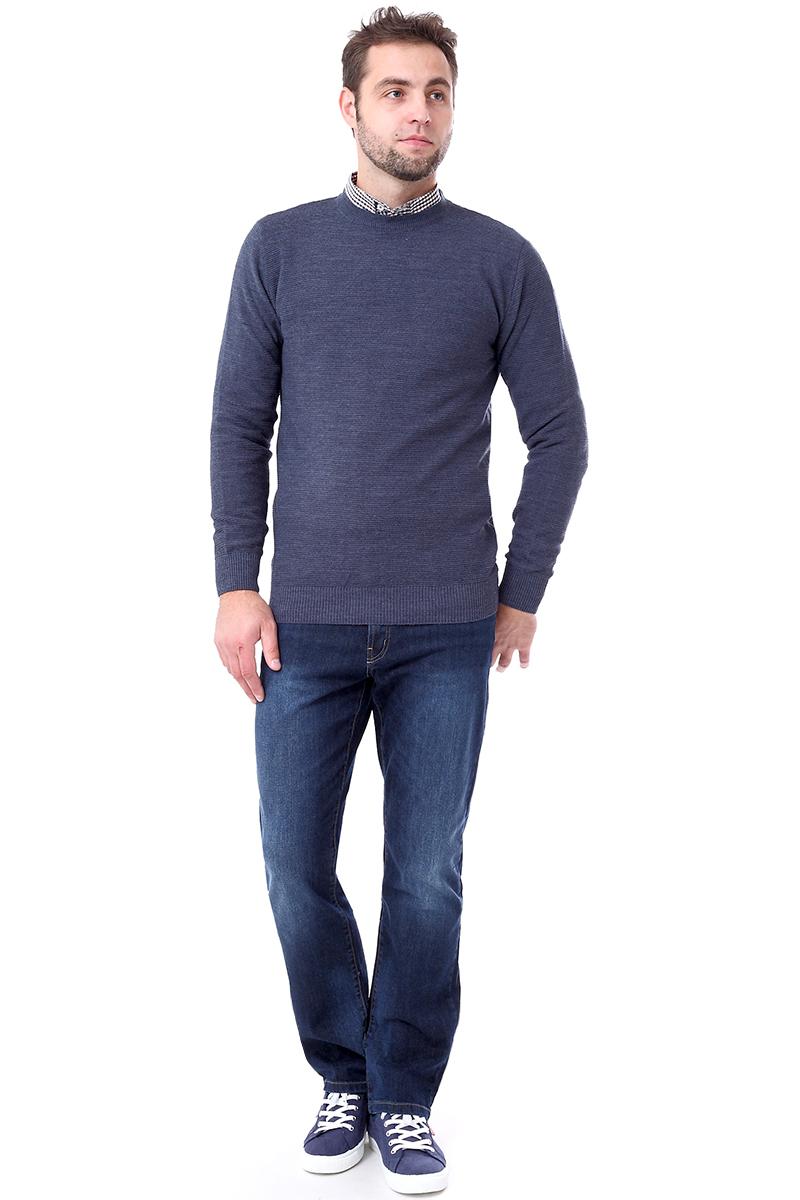 Джемпер мужской F5, цвет: синий. 276127. Размер M (48)276127_indigo/04538Мужской джемпер F5 с круглым вырезом горловины и длинными рукавами изготовлен из высококачественной комбинированной пряжи. Манжеты рукавов, вырез горловины и низ джемпера связаны резинкой.