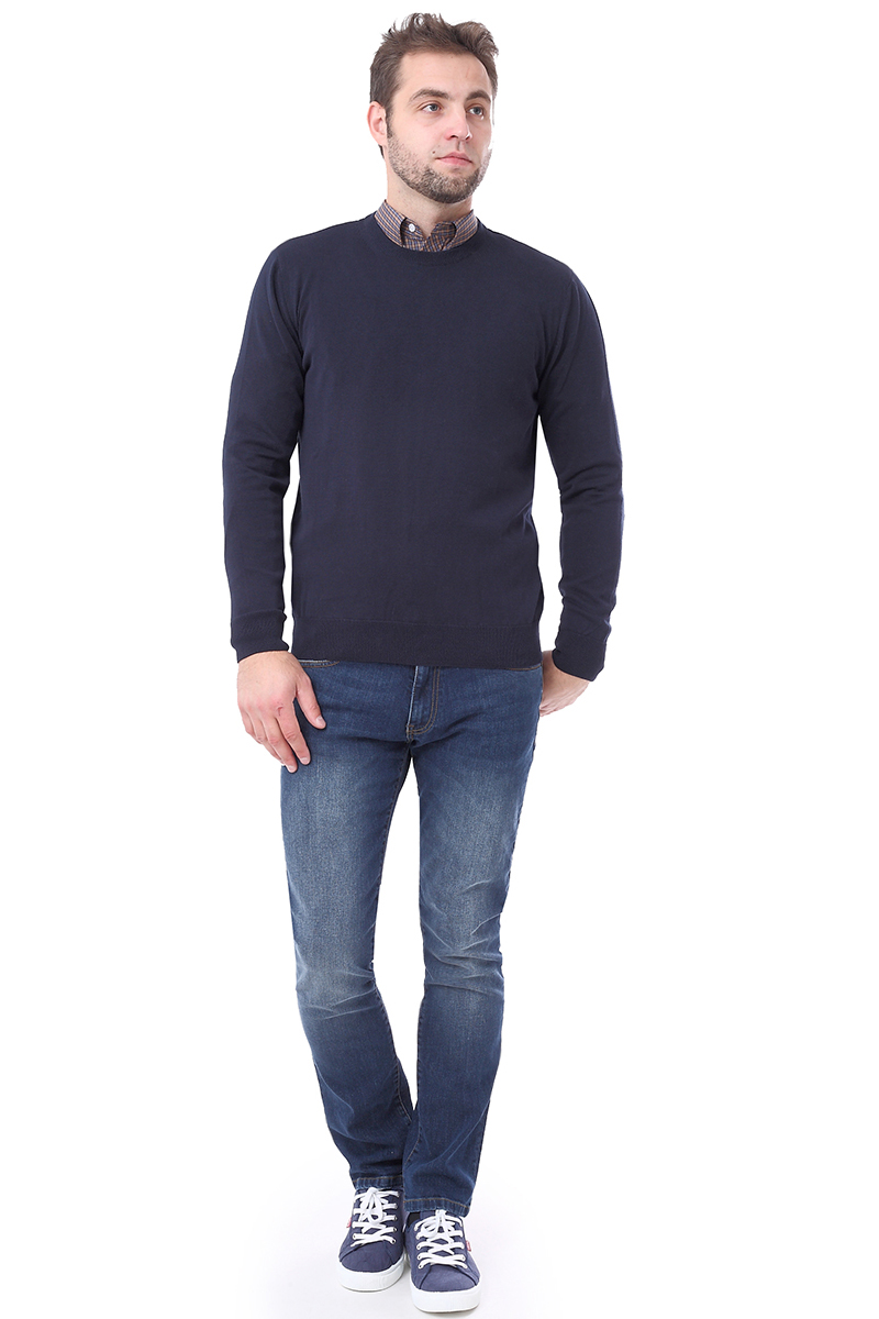 Джемпер мужской F5, цвет: синий. 276128. Размер XL (52)276128_navyМужской джемпер F5 с круглым вырезом горловины и длинными рукавами изготовлен из 100% хлопка. Манжеты рукавов, вырез горловины и низ джемпера связаны резинкой.