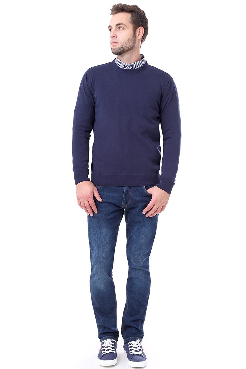 Джемпер мужской F5, цвет: синий. 276129. Размер M (48)276129_dark blueМужской джемпер F5 с круглым вырезом горловины и длинными рукавами изготовлен из 100% хлопка. Манжеты рукавов, вырез горловины и низ джемпера связаны резинкой.
