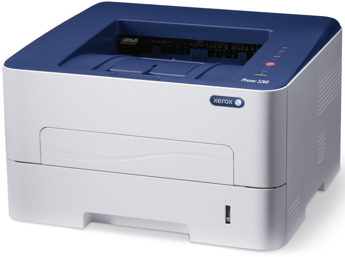 Xerox Phaser 3260DNI принтер3260V_DNIМонохромный лазерный принтер Xerox Phaser 3260DNI объединяет в себе такие важные для современного офиса параметры, как высокая скорость печати, в том числе в автоматическом двустороннем режиме, беспрецедентную экономичность и надежность.Принтер имеет очень низкую стоимость отпечатка, что делает его одним из самых выгодных по владению принтеров в своем сегменте. За счет мощного процессора (600 МГц) и увеличенного объема памяти (256 Мб) обеспечивается скорость печати в 28 стр/мин, а также высокое разрешение отпечатков (4800х600 в повышенном разрешении), даже если в них содержится много графики.Автоматическая двусторонняя печать в стандартной комплектации сэкономит время и бумагу, а режимы энергосбережения и экономии тонера сократят операционные расходы и сократят уже и так дешевую стоимость отпечатка, а еще двойная упаковка картриджей (2 х 3000 стр) позволит печатать больше!Стоит отметить наличие подключения по WIFI в базовой комплектации и многообразие материалов на которых способен печатать данный принтер, а именно: бумага нестандартных размеров и типов, прозрачные пленки, картотечная бумага, а также конверты и открытки. Устройство поддерживает печать с мобильных устройств Apple AirPrint, Xerox PrintBack.Струйный или лазерный принтер: какой лучше? Статья OZON Гид