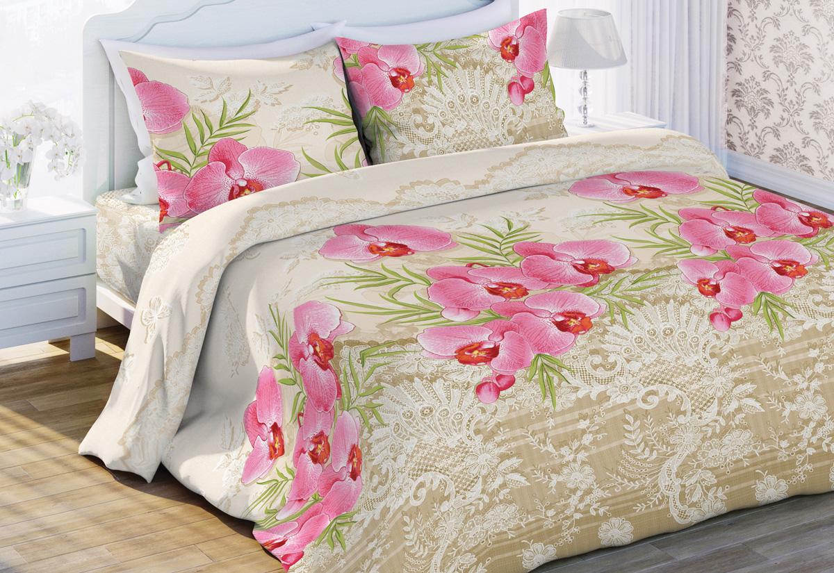 Комплект белья Флоранс Орхидея, евро, наволочки 70x70, цвет: бежевый449639