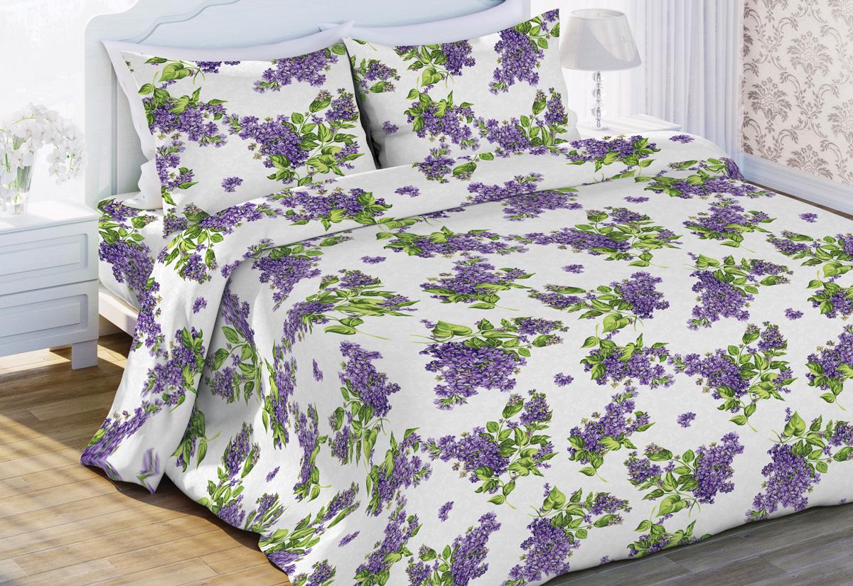 Комплект белья Флоранс Сирень, 1,5-спальный, наволочки 70x70, цвет: сиреневый449635