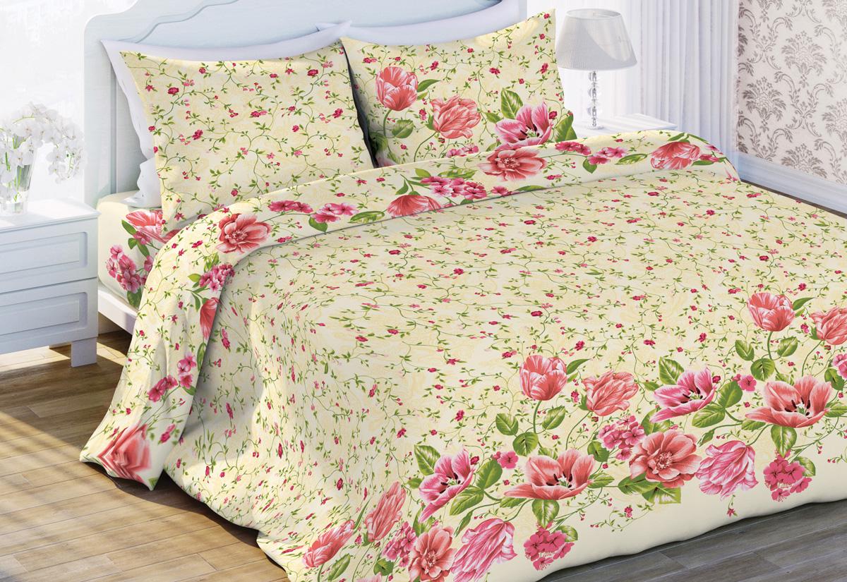 Комплект белья Флоранс Тюльпаны, евро, наволочки 70x70, цвет: светло-зеленый449644