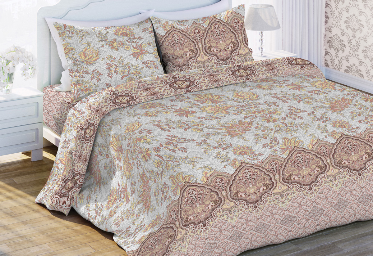 Комплект белья Флоранс Франческа, 2-спальный, наволочки 70x70, цвет: бежевый449650