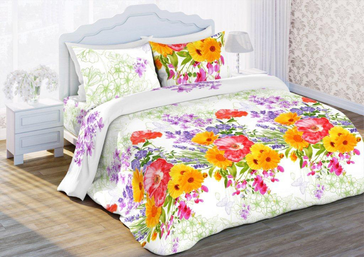 Комплект белья Флоранс Цветочный этюд, евро, наволочки 70x70, цвет: белый431909