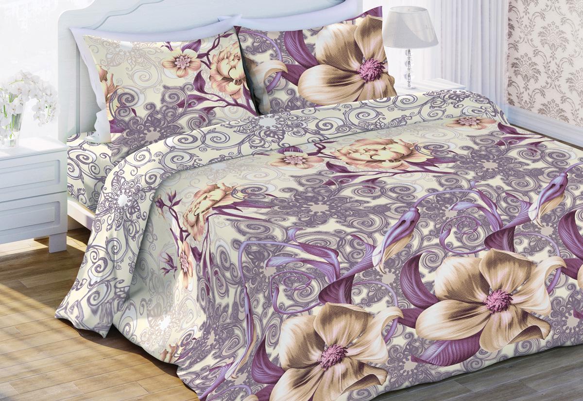 Комплект белья Флоранс Энигма, 2-спальный, наволочки 70x70, цвет: сиреневый449648
