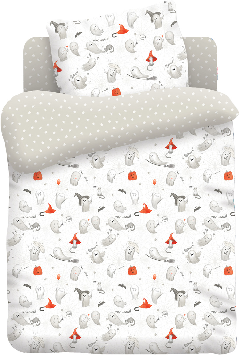 Непоседа Комплект белья в кроватку Добрые привидения цвет белый 3 предмета441759Комплект белья в кроватку Добрые привидения подарит вашему ребенку яркие, красивые и сказочные сны! Набор постельного бельяизготовлен из безопасных материалов. Яркие краски ткани и отличное качество - все это подарит вашему ребенку крепкий, здоровый сон. В комплект входят: -наволочка, -простыня, -пододеяльник.