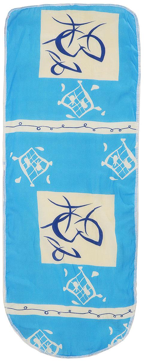 Чехол для гладильной доски Eva, с поролоном, цвет: голубой, бежевый, 125 х 47 смЕ13Хлопчатобумажный чехол Eva с поролоновым слоем продлит срок службы вашей гладильной доски. Чехол снабжен стягивающим шнуром, при помощи которого вы легко отрегулируете оптимальное натяжение чехла и зафиксируете его на рабочей поверхности гладильной доски. Размер чехла: 125 х 47 см.Максимальный размер доски: 116 х 40 см.