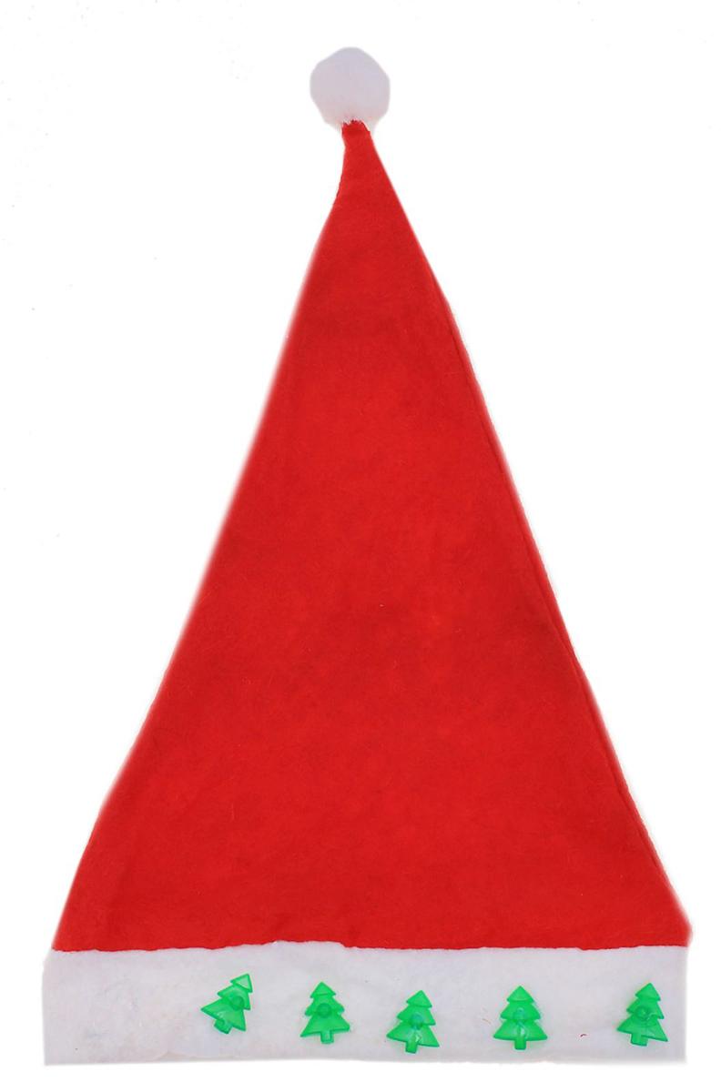 Колпак новогодний Елки, с подсветкой, цвет: красный703844Поддайтесь новогоднему веселью на полную катушку! Забавный колпак в секунду создаст праздничное настроение, будь то поздравление ребятишек или вечеринка с друзьями. Размер изделия универсальный: аксессуар подойдет как для ребенка, так и для взрослого. А мягкий текстиль позволит носить колпак с комфортом на протяжении всей новогодней ночи.