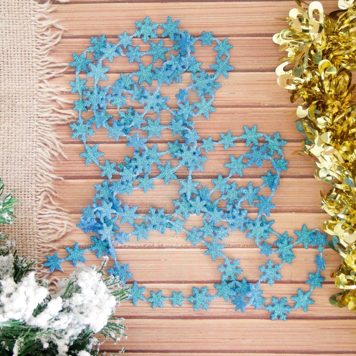 Бусы на елку NoName Blue. Снежинки, длина 270 см2155369Невозможно представить нашу жизнь без праздников! Мы всегда ждем их и предвкушаем, обдумываем, как проведем памятный день, тщательно выбираем подарки и аксессуары, ведь именно они создают и поддерживают торжественный настрой. Это отличный выбор, который привнесет атмосферу праздника в ваш дом!