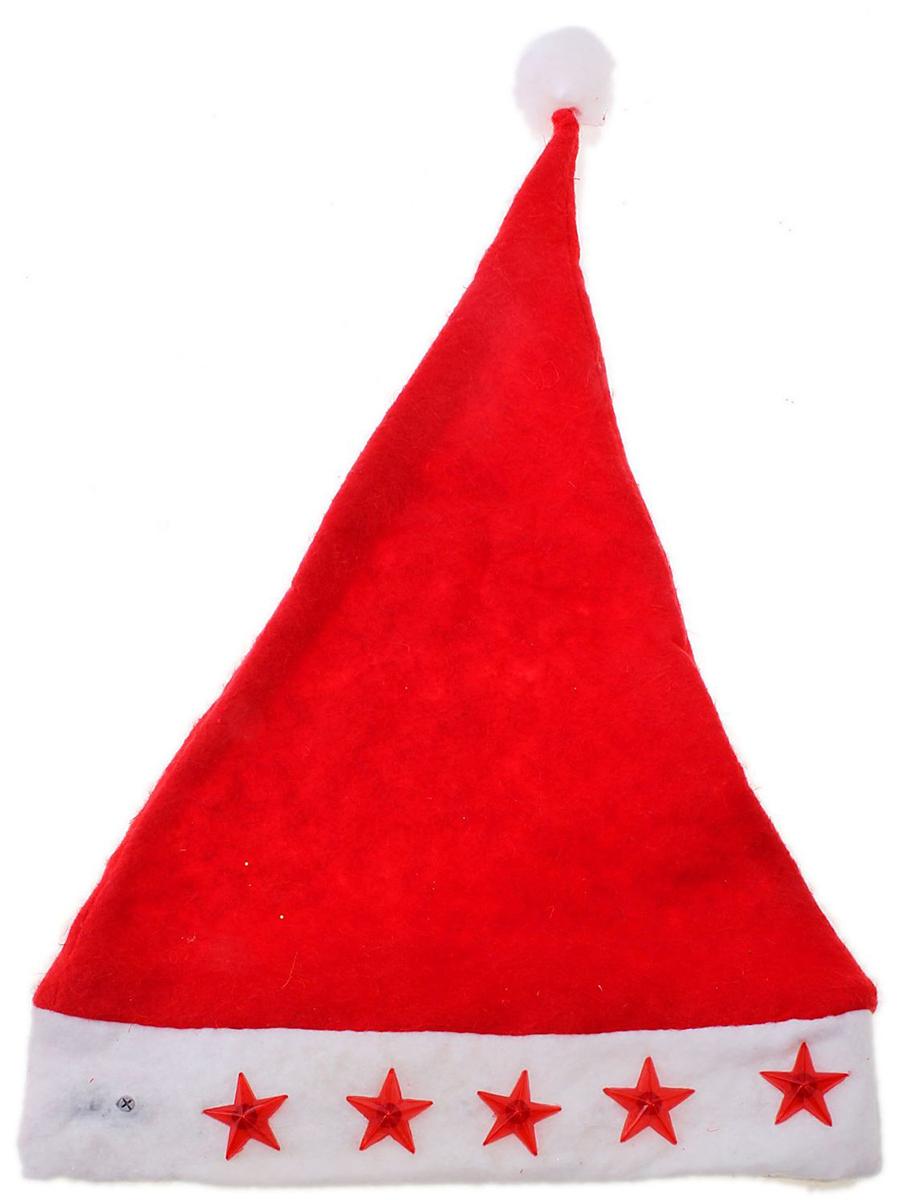 Колпак новогодний Звезда, с подсветкой, цвет: красный701458Поддайтесь новогоднему веселью на полную катушку! Забавный колпак в секунду создаст праздничное настроение, будь то поздравление ребятишек или вечеринка с друзьями. Размер изделия универсальный: аксессуар подойдет как для ребенка, так и для взрослого. А мягкий текстиль позволит носить колпак с комфортом на протяжении всей новогодней ночи.