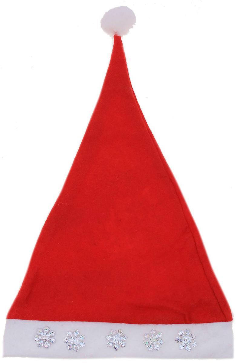 Колпак новогодний Снежинка, с наклейкой703853Поддайтесь новогоднему веселью на полную катушку! Забавный колпак в секунду создаст праздничное настроение, будь то поздравление ребятишек или вечеринка с друзьями. Размер изделия универсальный: аксессуар подойдет как для ребенка, так и для взрослого. А мягкий текстиль позволит носить колпак с комфортом на протяжении всей новогодней ночи.