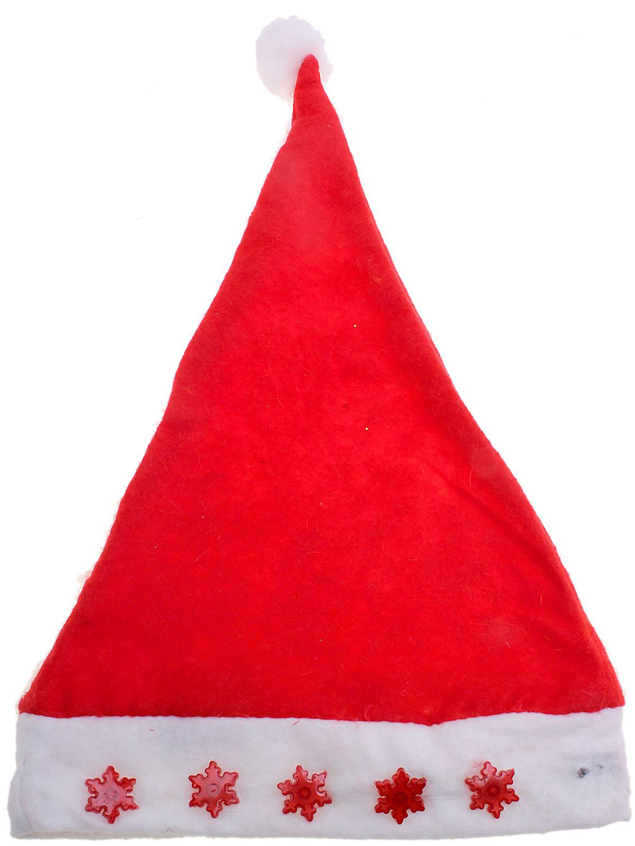 Колпак новогодний Снежинка, с подсветкой, цвет: красный701459Поддайтесь новогоднему веселью на полную катушку! Забавный колпак в секунду создаст праздничное настроение, будь то поздравление ребятишек или вечеринка с друзьями. Размер изделия универсальный: аксессуар подойдет как для ребенка, так и для взрослого. А мягкий текстиль позволит носить колпак с комфортом на протяжении всей новогодней ночи.