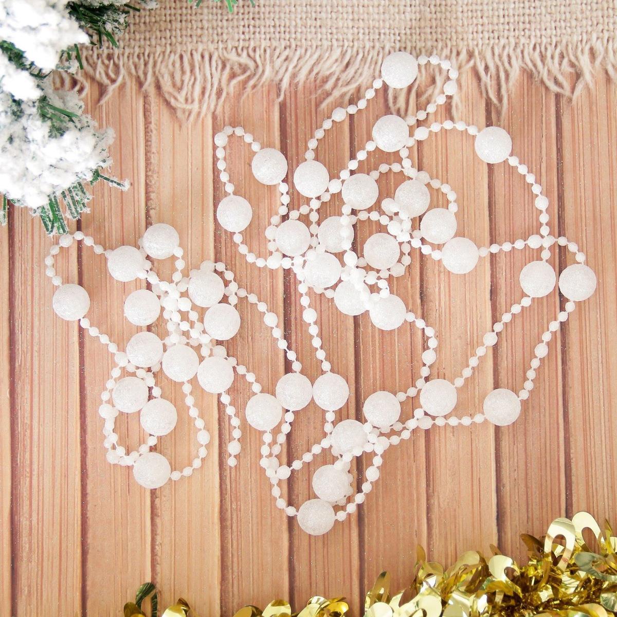 Бусы на елку Снежный шарик, длина 270 см. 21553622155362Невозможно представить нашу жизнь без праздников! Мы всегда ждем их и предвкушаем, обдумываем, как проведем памятный день, тщательно выбираем подарки и аксессуары, ведь именно они создают и поддерживают торжественный настрой. Это отличный выбор, который привнесет атмосферу праздника в ваш дом!