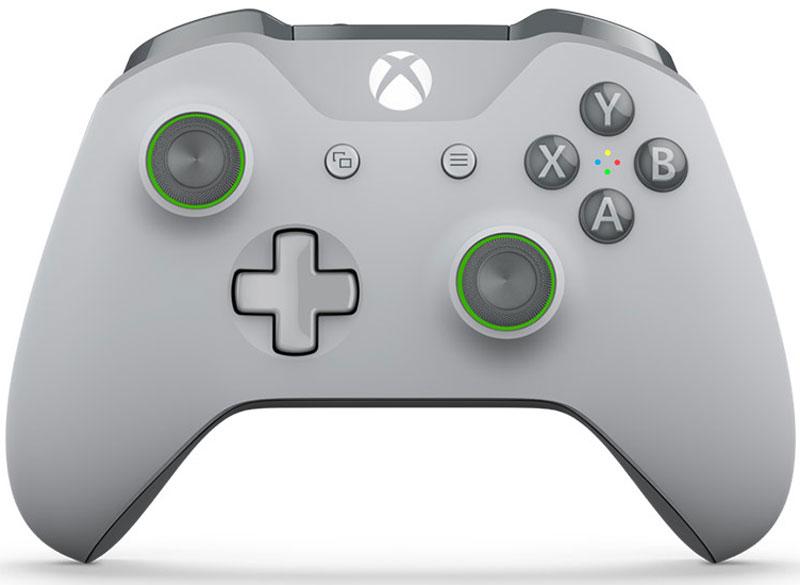 Xbox One Wireless Controller, Grey беспроводной геймпадWL3-00061Xbox One Wireless Controller отличается изящной конструкцией, выкрашен в арктический камуфляж и имеет удобные текстурные рукоятки.Импульсные триггеры обеспечивают вибрационную обратную связь, так что вы почувствуете малейшую тряску и столкновения с высочайшей точностью. Отзывчивые мини-джойстики и усовершенствованная крестовина повышают точность. А к 3,5 - мм стереогнезду можно напрямую подключить любую совместимую гарнитуру.Почувствуйте игру благодаря импульсным триггерам. Вибрационные электродвигатели в триггерах обеспечивают прецизионную обратную связь, передавая отдачу оружия, столкновения и тряску для достижения невиданного реализма в играх!Теперь геймпад оснащен 3,5-мм стереогнездом, к которому можно напрямую подключить любимую игровую гарнитуру.Поддерживается беспроводное обновление прошивки, благодаря чему для обновления не требуется подключать геймпад с помощью кабеля USB.ТочностьКрестовина отлично реагирует как на касания, так и на нажатия навигационных кнопокМини-джойстики удобнее в использовании и точнее работаютТриггеры и бамперы ускоряют доступ к командамКомфортРазмер и контуры геймпада комфортны для рук любого игрокаБатареи скрыты в корпусе, благодаря чему геймпад удобнее лежит в рукеДругие особенностиКомплект поставки: беспроводной геймпад и 2 батареи типоразмера AAРадиус действия до 6 мК консоли можно одновременно подключить до 8 беспроводных геймпадовКнопки Меню и Просмотр облегчают навигациюПростая привязка профилей к геймпадуК новому встроенному стереогнезду для гарнитуры можно подключить дополнительные устройства, например гарнитуру для чатаГеймпад совместим с зарядным устройством для геймпада Xbox One, гарнитурой для чата Xbox One и стереогарнитурой Xbox One.