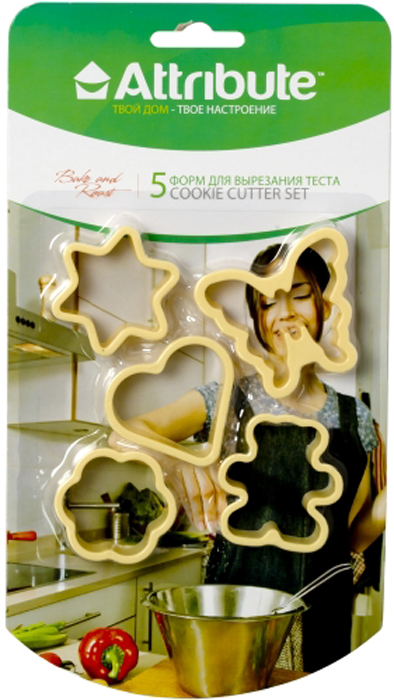 """Набор """"Attribute Gadget"""" состоит из 5 форм для вырезания теста, выполненных из пластика. Изделия предназначены для создания печенья, сладких украшений, пряников, бутербродов, как трафарет для украшений из бумаги и других материалов."""