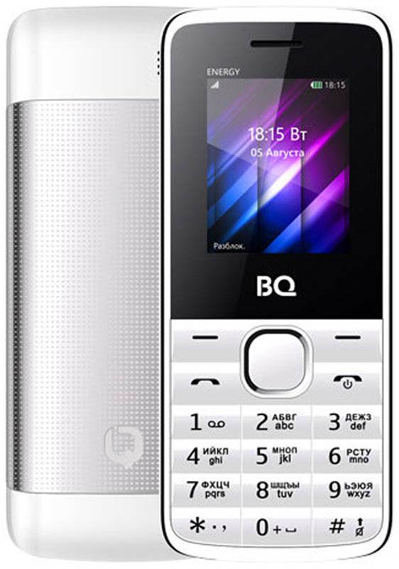 BQ 1840 Energy, White85953996BQ 1840 Energy - компактный телефон с QQVGA экраном диагональю 1.77 дюйма. Для оперативной передачи необходимых данных используется встроенный Bluetooth модуль. Из остальных функций стоит отметить встроенные FM-радио приемник и виброзвонок. Для удобного разделения рабочих и личных контактов есть возможность использовать одновременно 2 SIM-карты. Долгое время работы обеспечивает энергоемкий аккумулятор мощностью 1500 mAh. Корпус модели сделан из металла, что добавляет модели статусности.Телефон сертифицирован EAC и имеет русифицированную клавиатуру, меню и Руководство пользователя.