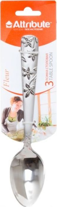 Ложка столовая Attribute Fleur, цвет: серебряный, 3 штACF323Столовые ложки из нержавеющей стали Attribute Fleur выделяются интересным дизайном, в основе которого - сочетание глянцевой рабочей поверхности с ручкой, украшенной рельефным цветочным орнаментом. Благодаря оригинальному внешнему виду ложки станут настоящим украшением вашего стола.