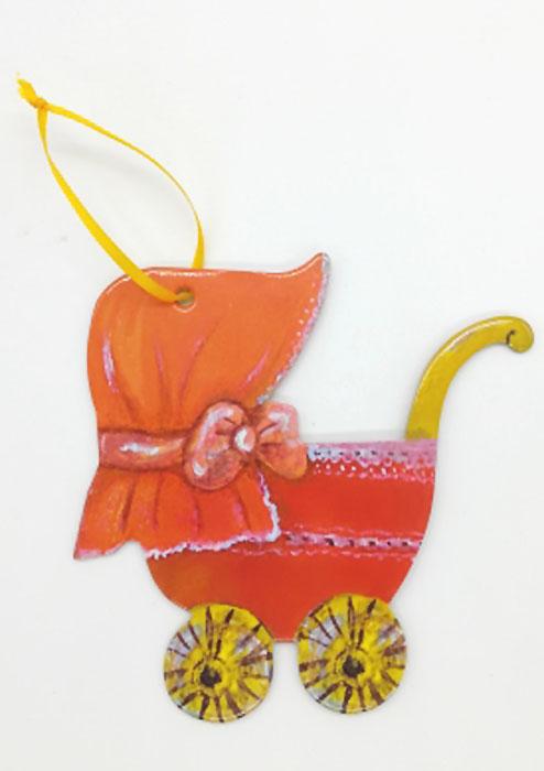 Игрушка картонная новогодняя № 20 «Коляска»TOYNY 20Замечательная безопасная картонная игрушка на ленточке! Милый сувенир на елочку)