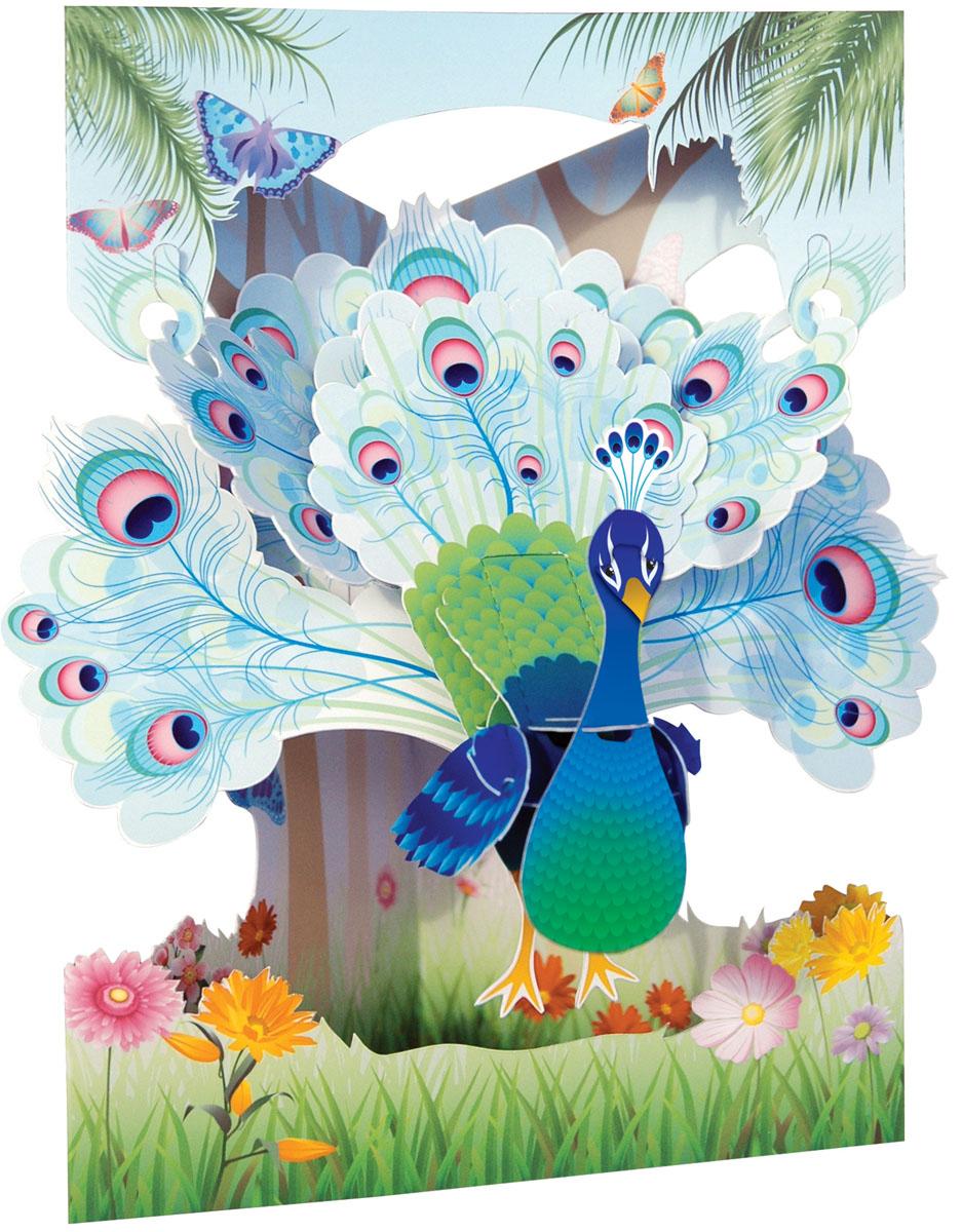Объемная открытка Santoro Павлин42734Коллекция объемных английских 3Д открыток
