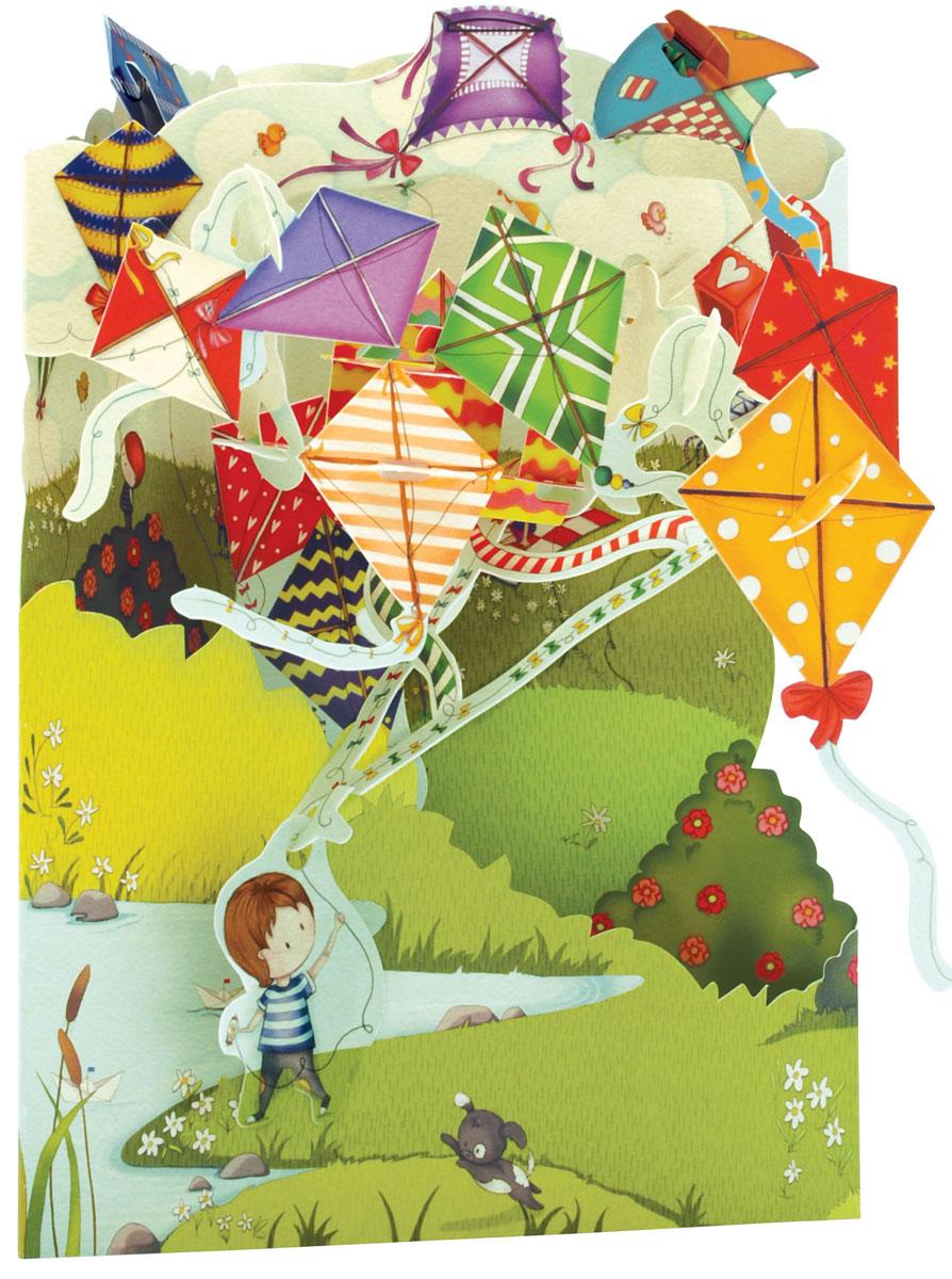Объемная открытка Santoro Воздушные змеиSC 169Коллекция объемных английских 3Д открыток