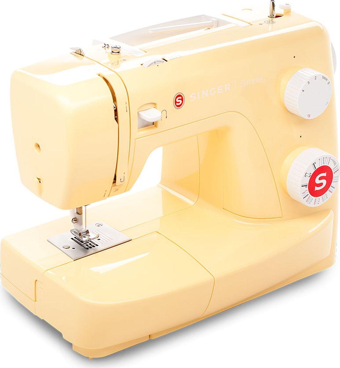 Singer Simple 3223, Yellow швейная машинаSINGER 3223 YELLOWМодель Simple 3223 Yellow отличается от остальных машин Singer корпусом желтого цвета. Станет отличным подарком для всех, кто хочет превратить шитье в любимое хобби, для активных и жизнерадостных, кто предпочитает буйство красок и интересный дизайн. 23 швейных операции: 6 основных, 7 эластичных и 9 декоративных строчек, а также 1 полуавтоматическая петля - идеально подойдет для рукоделия, домашнего декора, шитья одежды и многого другого! Полуавтоматическое выметывание петли. Машина выполняет петлю в полуавтоматическом режиме за 4 шага без дополнительного поворота ткани. Вам остается только лишь переключать клавишу для перехода на следующий этап. Регулируемая длина строчки. Установка длины строчки до 4 мм осуществляется простым поворотом регулировочного колеса. Игольная пластина из нержавеющей стали обеспечивает легкое и беспрепятственное скольжение ткани. Моментальная замена лапки без отверток - лапку можно поменять за мгновение одним нажатием кнопки. Автоматический обратный ход: зажмите удобно расположенную клавишу обратного хода, чтобы шить в обратном направлении и усилить строчки. Мощный металлический каркас: внутренний каркас швейной машины изготовлен из прочного металла. Эта жесткая станина несет на себе все механизмы, очень хорошо подавляет вибрации при работе и повышает общую прочность машины. Процесс шитья будет довольно быстрым за счет скорости 750 стежков/мин. Аксессуары удобно хранятся под рукой в съемном ящичке машины. Съемная рукавная платформа обеспечивает удобную обработку манжет, воротников и других трубчатых изделий. Рычаг подъема прижимной лапки имеет два положения. Если с усилием поднять рычаг в верхнее положение, будет удобно разместить несколько слоев ткани под лапкой.