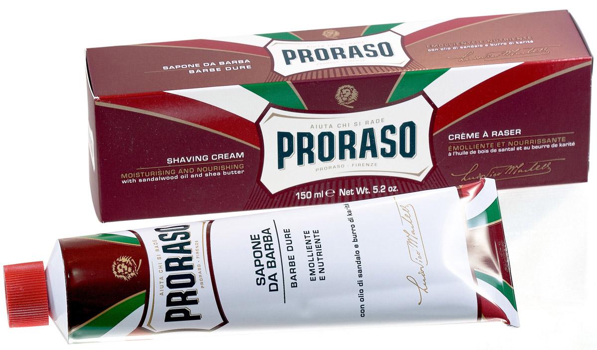 Proraso Крем для бритья питательный, 150 мл. 401952401952_зеленыйФормула на основе растительного стеарина обогащенная маслом ши и сандала, восстанавливает сухую кожу и размягчает даже самую жесткую щетину. Подходит для сухой кожи и жесткой щетины.