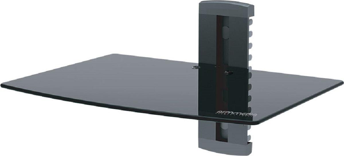 Arm media DVD-100B, Black полка для DVDDVD-100BПолка Arm media DVD-100B black для A/V систем, max нагрузка 10 кг, настенный, размер полки 245*350, стекло 5 мм, регулировка по высоте, кабель-канал