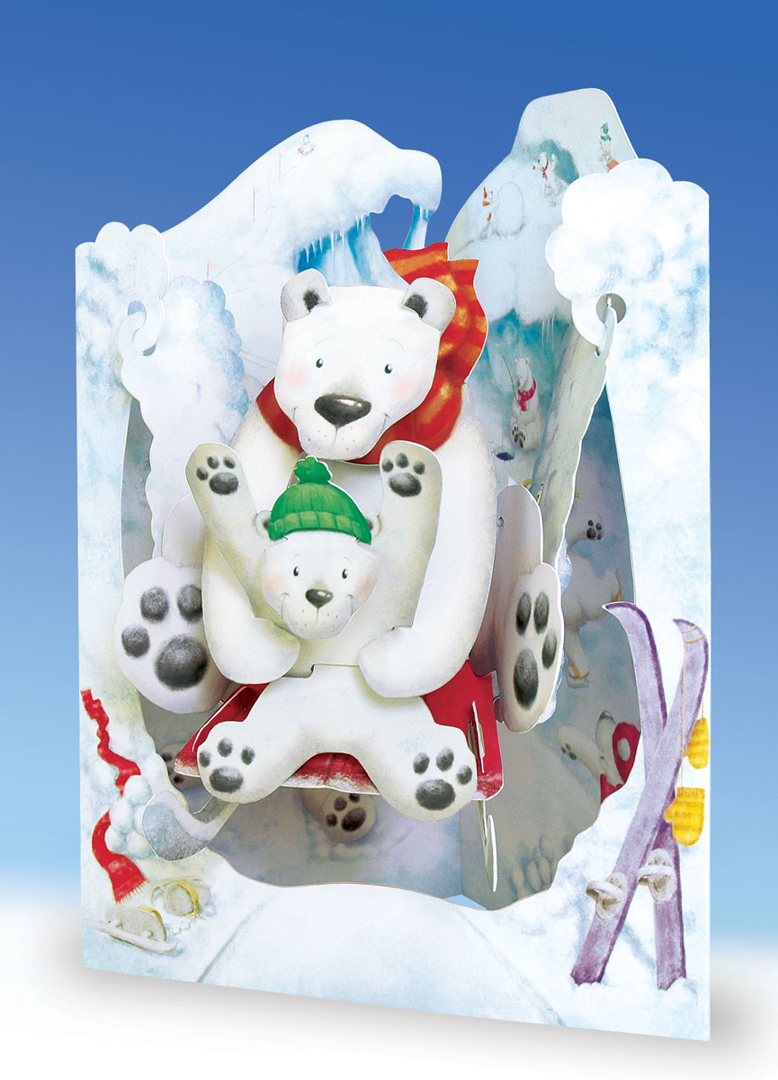 Объемная открытка Santoro Белые медведиSC 110Коллекция объемных английских 3Д открыток