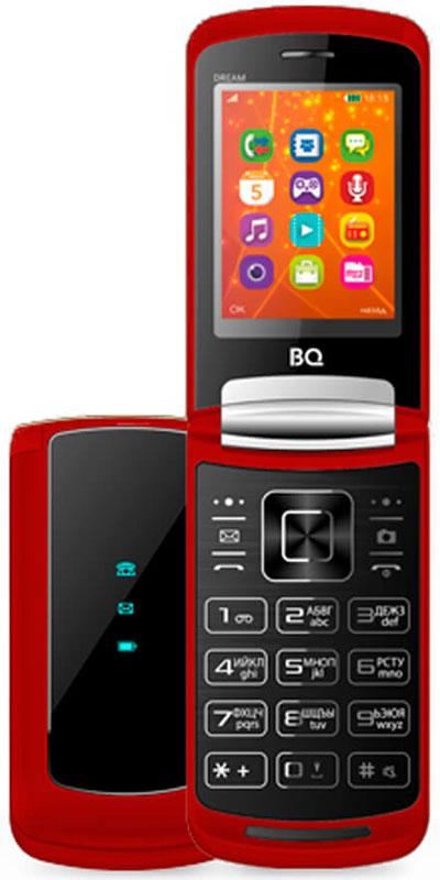 BQ 2405 Dream, Red46613577BQ 2405 Dream - кнопочный телефон с элегантным раскладным корпусом.Благодаря раскрывающейся конструкции нам удалось одновременно разместить экран размером 2.4 дюйма с разрешением 240x320 точек и удобную большую клавиатуру, которая идеально подходит для набора текстовых сообщений, при этом внешне она похожа на сенсорную панель.Для удобства пользователей на внешней стороне крышки сделаны три подсвечивающиеся иконки, которые способны сообщить о низком заряде, новом СМС или звонке. Телефон снабжен встроенным FM-приемникоми модулем Bluetooth, а значит, сможетразвлечь вас во время прогулки любимыми песнями или передать необходимые файлы без использования сторонних устройств.Для хранения большого количества информации предусмотрена возможность расширения встроенный памяти BQ-2405 Dream до 32 Гб с помощью Micro SD. Благодаря поддержке нескольких SIM-карт можно легко сократить расходы на сотовую связь, используя разные тарифные планы и операторов.Телефон сертифицирован EAC и имеет русифицированную клавиатуру, меню и Руководство пользователя.
