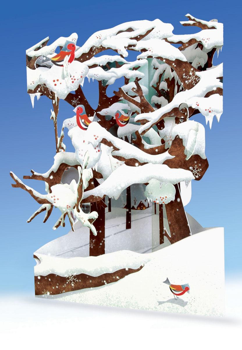 """Объемная открытка Santoro """"Снегири"""""""
