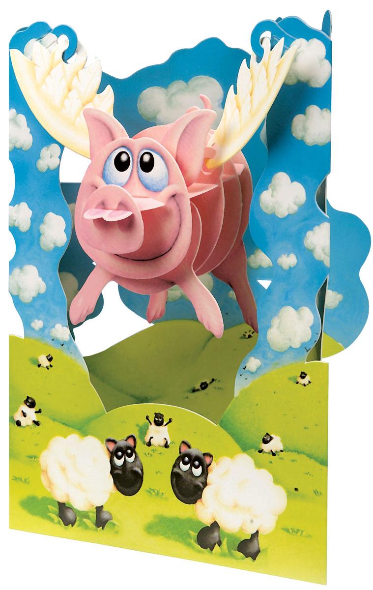 Объемная открытка Santoro Хрюшка1051506Коллекция объемных английских 3Д открыток