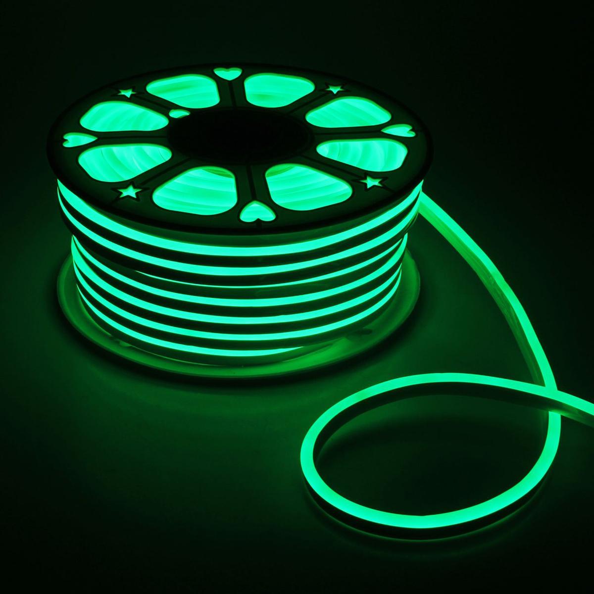 Гирлянда светодиодная Luazon, 120 ламп, 220 V, цвет: зеленый, 0,8 см х 1,6 см х 50 м. 14312621431262Светодиодные гирлянды, ленты и т.д — это отличный вариант для новогоднего оформления интерьера или фасада. С их помощью помещение любого размера можно превратить в праздничный зал, а внешние элементы зданий, украшенные ими, мгновенно станут напоминать очертания сказочного дворца. Такие украшения создают ауру предвкушения чуда. Деревья, фасады, витрины, окна и арки будто специально созданы, чтобы вы украсили их светящимися нитями.