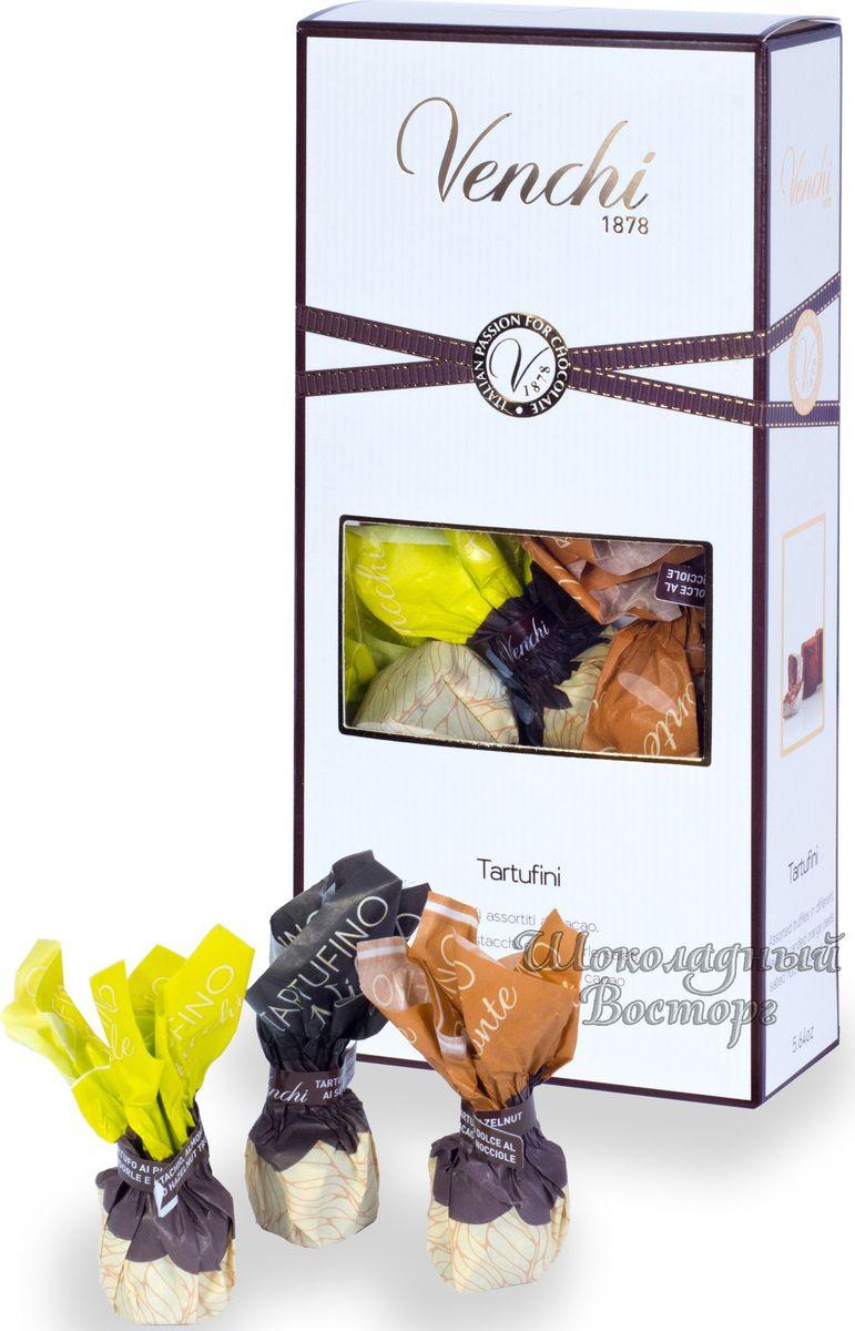 Venchi Tartufini Assortiti конфеты шоколадные трюфели, 160 г106138Venchi - премиальный итальянский бренд, ведущий свою историю с 1878 года. Venchi является одним из самых популярных шоколадных брендов как в самой Италии, так и во всем мире. Шоколадные трюфели Venchi Tartufini - шоколадные конфеты-ассорти из четырех видов в подарочной коробочке с прозрачным окошком, от итальянского производителя Venchi (Пьемонт, Италия).Трюфели Venchi включают: кремово-хрустящие мини трюфели экстра темного шоколада с крупкой какао бобов, соленые трюфели с фисташками, миндалем и фундуком, трюфели с цукатами апельсиновой цедры и мини трюфели с поджаренным фундуком и покрытые какао-порошком.