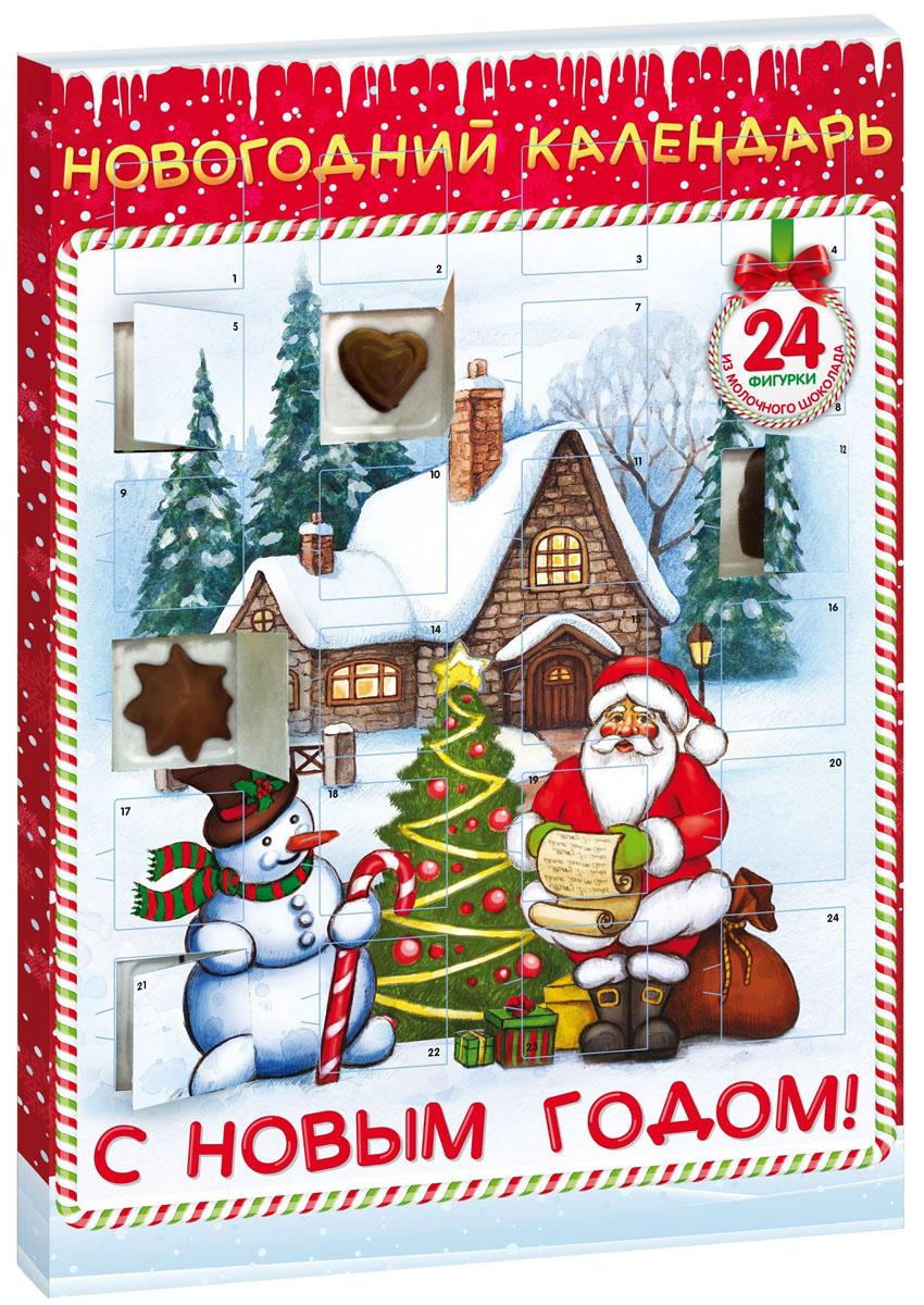 Сладкая Сказка Новогодний календарь Снеговик, 75 г сладкая сказка снегурочка синий подарочный шар карамель магнит 18 г