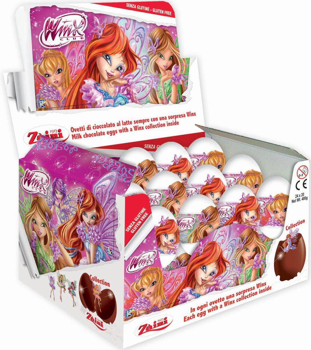 Zaini Winx шоколадные яйца с игрушкой, 24 шт по 20 г paw patrol шоколадные медали 21 г по 24 шт