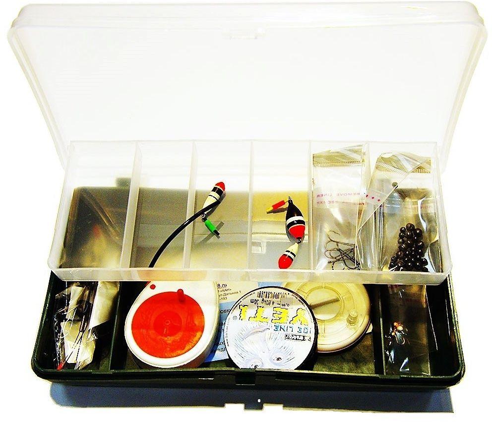 Набор для зимней рыбалки Аляска Универсальный, в коробкеА2017/НЗК1Достойный набор зимнего рыболова. Двух уровневая коробка с двумя комплектами снастей. В комплект входит: Набор свинцовых грузов (дробь),крючки разных размеров 10 шт, Поплавок зимний 2 шт, Леска , 0,16 мм, три вольфрамовые мормышки разных цветов, три сторожка разной жесткости, две удочки балалайки.