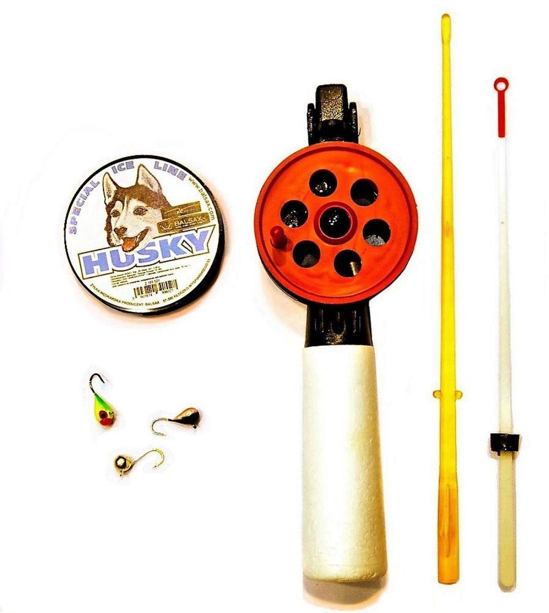 Набор для зимней рыбалки Аляска На Плотву, со сторожкомА2017/НЗ12Набор для ловли плотвы на кивок со льда. Плотва активнее клюет на легкие и тоненькие снасти, именно по этому в комплекте имеется удочка с удлиненное рукояткой, для более комфортной игры приманкой,, чувствительный сторожок, три вольфрамовые мормышки разных расцветок и диаметров, форм, леска 30 м, диаметром 0,06 мм