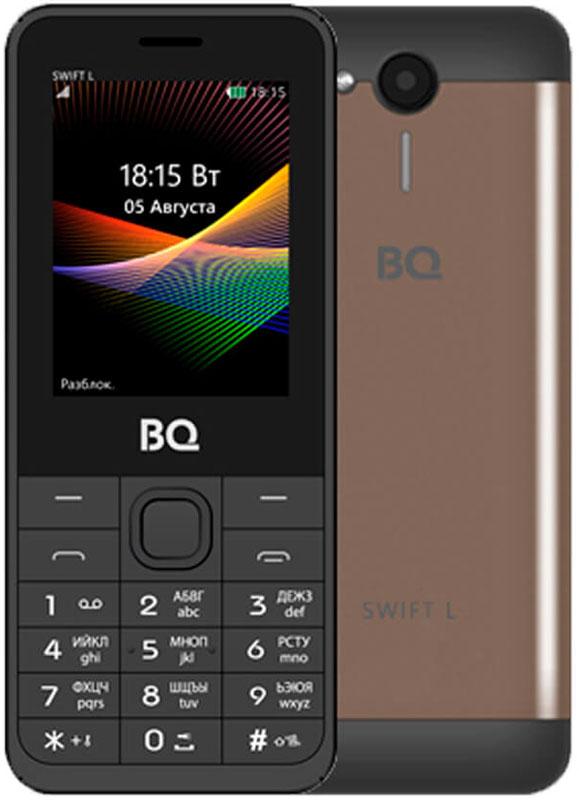 BQ 2411 Swift L, Brown85953594BQ 2411 Swift L - простой и удобный кнопочный телефон с металлической задней крышкой, защищающей его от ударов и падений. Благодаря поддержке двух SIM-карт вы сможете подобрать оптимальные тарифные планы мобильных операторов.Встроенный FM-приёмник позволяет прослушивать радио-каналы. Кроме того, с помощью этого телефона вы также сможете слушать музыку. Устройство поддерживает карты памяти до 16 Гб, что позволит вам сохранить множество музыкальных композиций.Телефон также поддерживает технологию Bluetooth, что даёт возможность передавать файлы без помощи кабеля.Телефон сертифицирован EAC и имеет русифицированную клавиатуру, меню и Руководство пользователя.