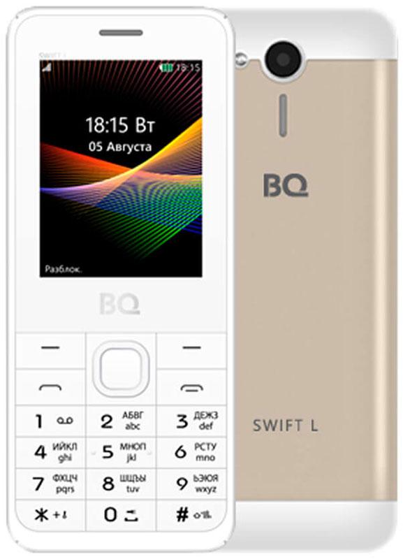 BQ 2411 Swift L, Gold85953596BQ 2411 Swift L - простой и удобный кнопочный телефон с металлической задней крышкой, защищающей его от ударов и падений. Благодаря поддержке двух SIM-карт вы сможете подобрать оптимальные тарифные планы мобильных операторов.Встроенный FM-приёмник позволяет прослушивать радио-каналы. Кроме того, с помощью этого телефона вы также сможете слушать музыку. Устройство поддерживает карты памяти до 16 Гб, что позволит вам сохранить множество музыкальных композиций.Телефон также поддерживает технологию Bluetooth, что даёт возможность передавать файлы без помощи кабеля.Телефон сертифицирован EAC и имеет русифицированную клавиатуру, меню и Руководство пользователя.