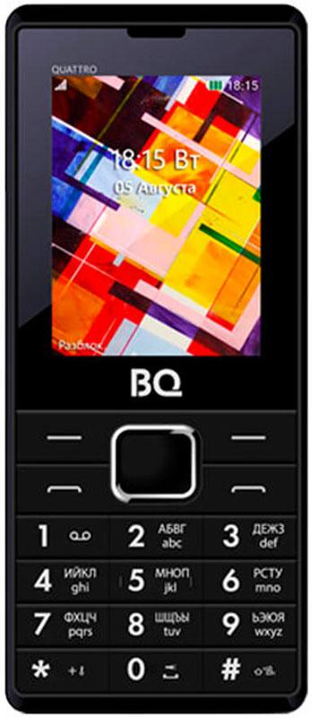 BQ 2412 Quattro, Black85953791Непревзойденный, стильный и практичный BQ-2412 Quattro. Дизайн, который действительно притягивает взгляд.Дисплей имеет оптимальную диагональ для телефона 2.4, что позволит с удобством пользоваться навигацией меню и мультимедиа функционалом. Слот для расширения памяти с помощью карт microSD до 16 Гб позволит сохранять любой мультимедиа контент на устройстве, и он всегда будет при вас.Встроенная камера позволит запечатлеть нужный момент в любом месте и в любое время. Встроенный FM-радиоприемник с разъемом 3.5 мм Jack для наушников позволят всегда быть на любимой волне и с любимыми композициями.С батареей объемом 1800 мАч заряжать телефон придется исключительно реже, чем обычный смартфон. Наличие 4-х слотов для сим карт позволит вам максимально экономит на мобильной связи, выбирая наиболее выгодного оператора. Невероятно красив и в то же время практичен.Телефон сертифицирован EAC и имеет русифицированную клавиатуру, меню и Руководство пользователя.