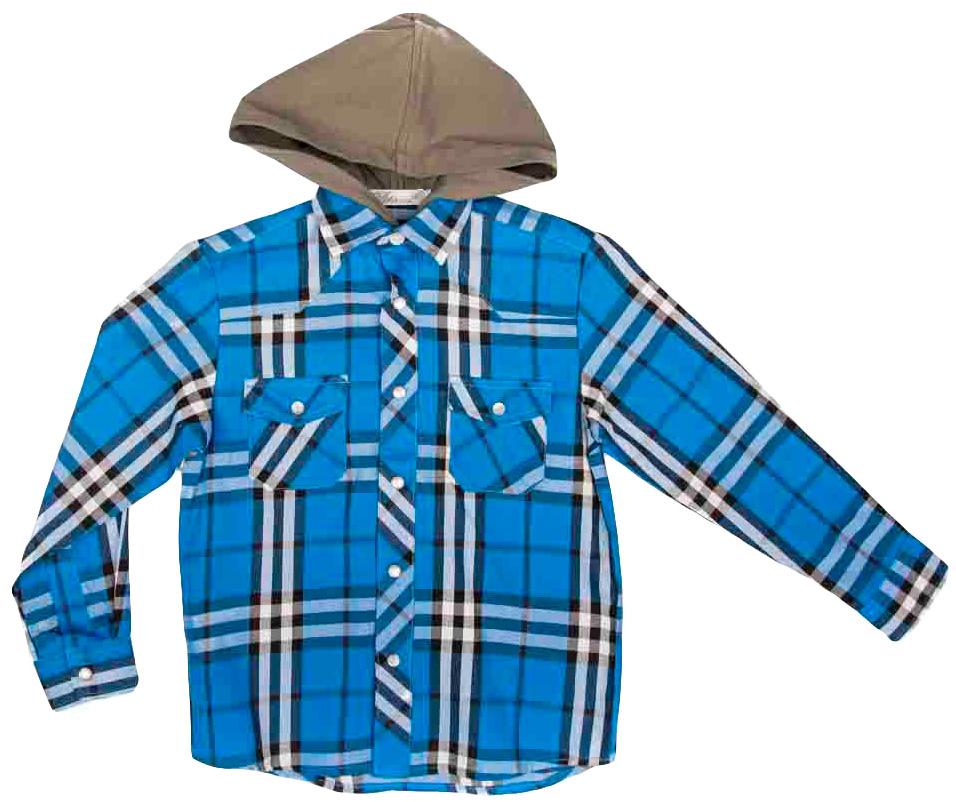Рубашка для девочки Vitacci, цвет: синий. 1161099-04. Размер 1221161099-04Рубашка с капюшоном для девочки Vitacci выполнена из хлопка с добавлением полиэстера. Модель с отложным воротником и длинными рукавами застегивается по всей длине с помощью пуговиц. Рукава дополнены манжетами на пуговицах. Оформлена рубашка стильным принтом в клетку и спереди двумя накладными карманами с клапанами.