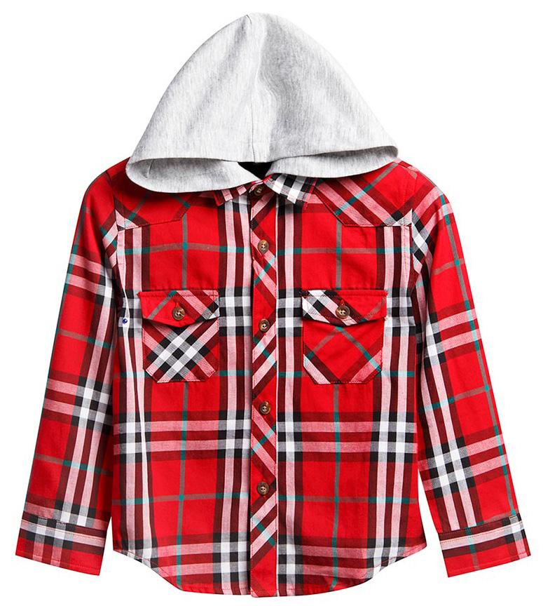 Рубашка для девочки Vitacci, цвет: красный. 1161099-05. Размер 1041161099-05Рубашка с капюшоном для девочки Vitacci выполнена из хлопка с добавлением полиэстера. Модель с отложным воротником и длинными рукавами застегивается по всей длине с помощью пуговиц. Рукава дополнены манжетами на пуговицах. Оформлена рубашка стильным принтом в клетку и спереди двумя накладными карманами с клапанами.