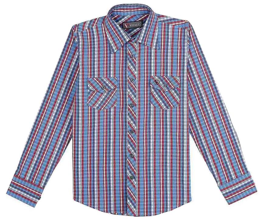 Рубашка для мальчика Vitacci, цвет: синий. 1171454-05. Размер 1401171454-05Рубашка для мальчика Vitacci выполнена из хлопка с добавлением лайкры. Модель с отложным воротником и длинными рукавами застегивается по всей длине с помощью пуговиц. Рукава дополнены манжетами на пуговицах. Оформлена рубашка стильным принтом в клетку и спереди двумя накладными карманами с клапанами.