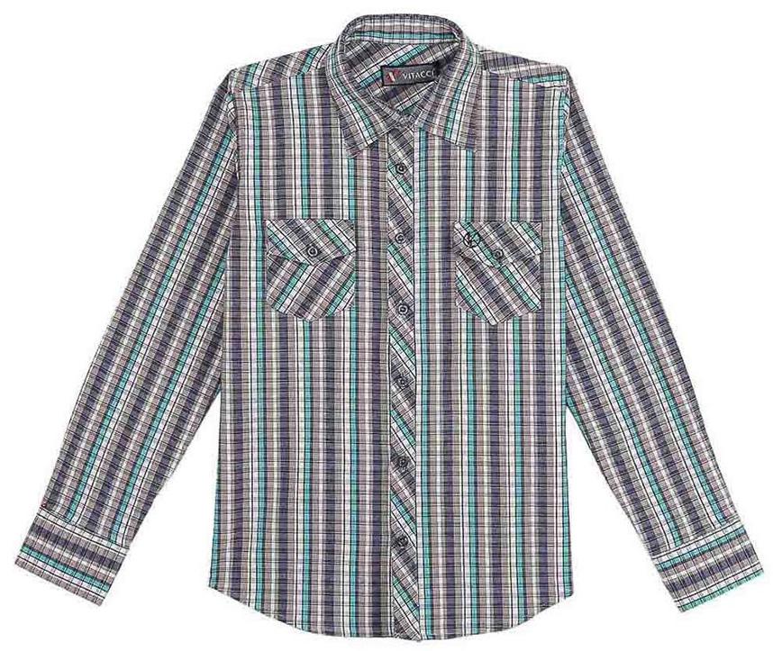 Рубашка для мальчика Vitacci, цвет: мятный. 1171454-32. Размер 1401171454-32Рубашка для мальчика Vitacci выполнена из хлопка с добавлением лайкры. Модель с отложным воротником и длинными рукавами застегивается по всей длине с помощью пуговиц. Рукава дополнены манжетами на пуговицах. Оформлена рубашка стильным принтом в клетку и спереди двумя накладными карманами с клапанами.