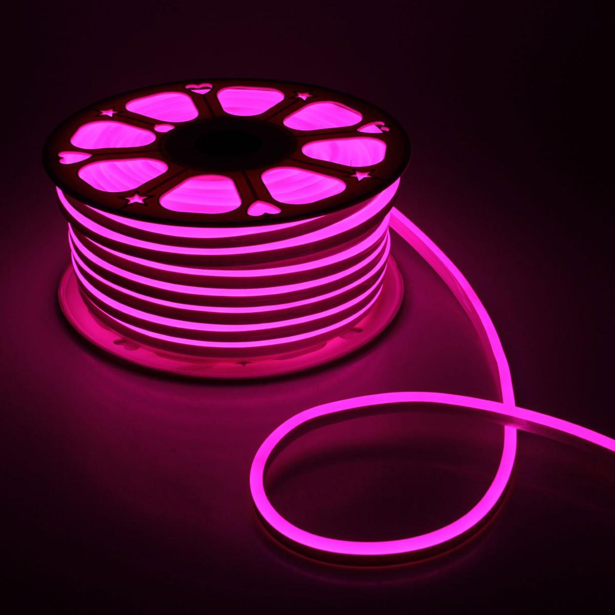 Гирлянда светодиодная Luazon, 120 ламп, 220 V, цвет: розовый, 0,8 см х 1,6 см х 50 м. 14312641431264Светодиодные гирлянды, ленты и т.д — это отличный вариант для новогоднего оформления интерьера или фасада. С их помощью помещение любого размера можно превратить в праздничный зал, а внешние элементы зданий, украшенные ими, мгновенно станут напоминать очертания сказочного дворца. Такие украшения создают ауру предвкушения чуда. Деревья, фасады, витрины, окна и арки будто специально созданы, чтобы вы украсили их светящимися нитями.